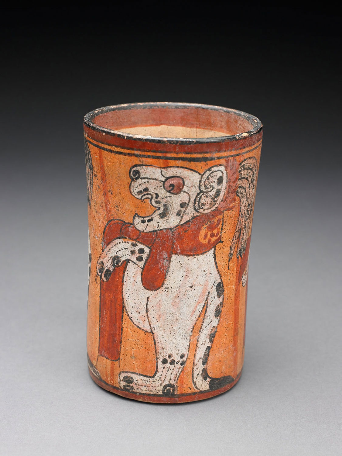 Maya jaguar ' way'  (alter ego) with scarf on a vessel:  wikivisually.com .