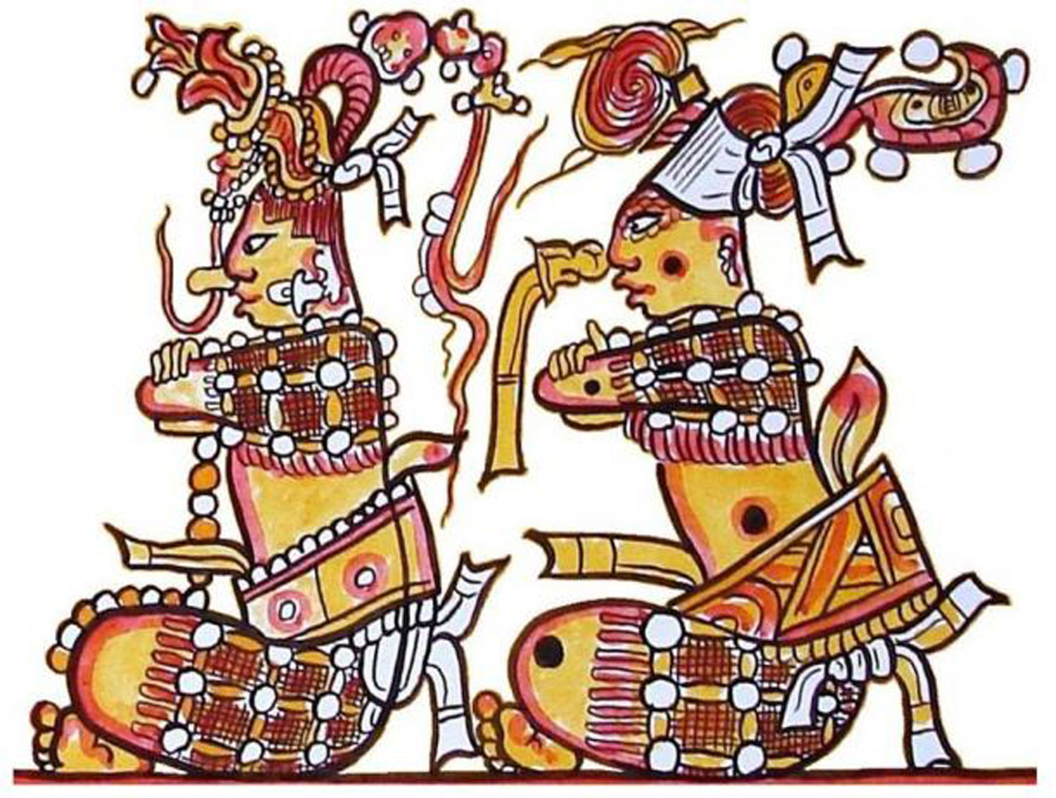 The Maya Hero Twins, Junajpu and Xbalanque. The latter is covered in jaguar skin spots. Painted by Lacambalam:  ancient-origins.net .