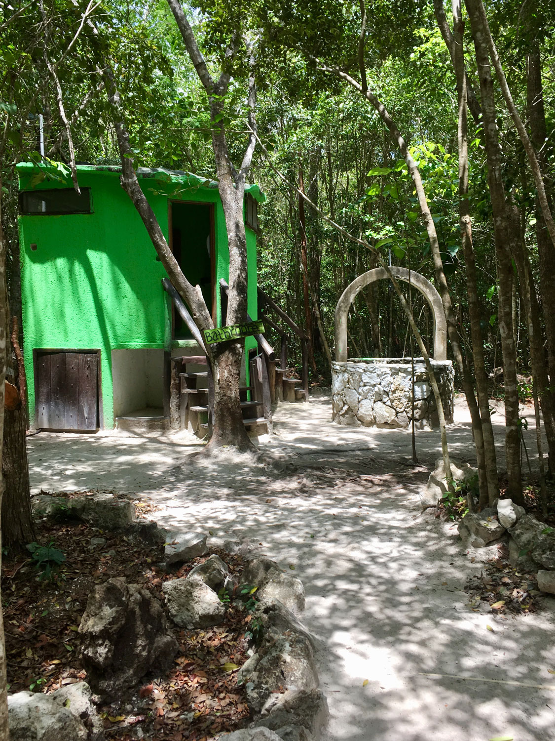 The restrooms and the well.