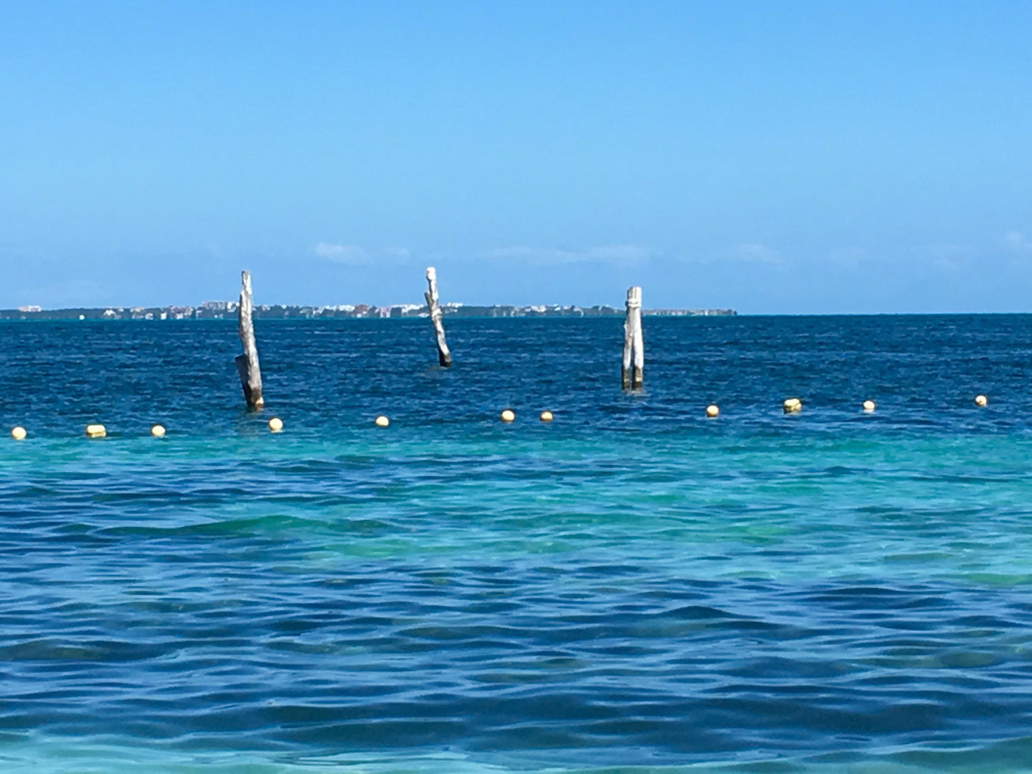 You can see Isla Mujeres from the beach.