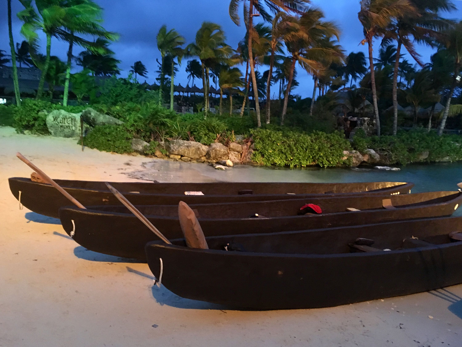 Replica canoes for the crossing to Cozumel, used for the re-enacted journey from Xcaret.