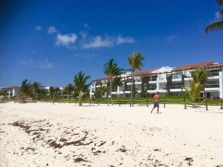 The hotel condos on the beach.