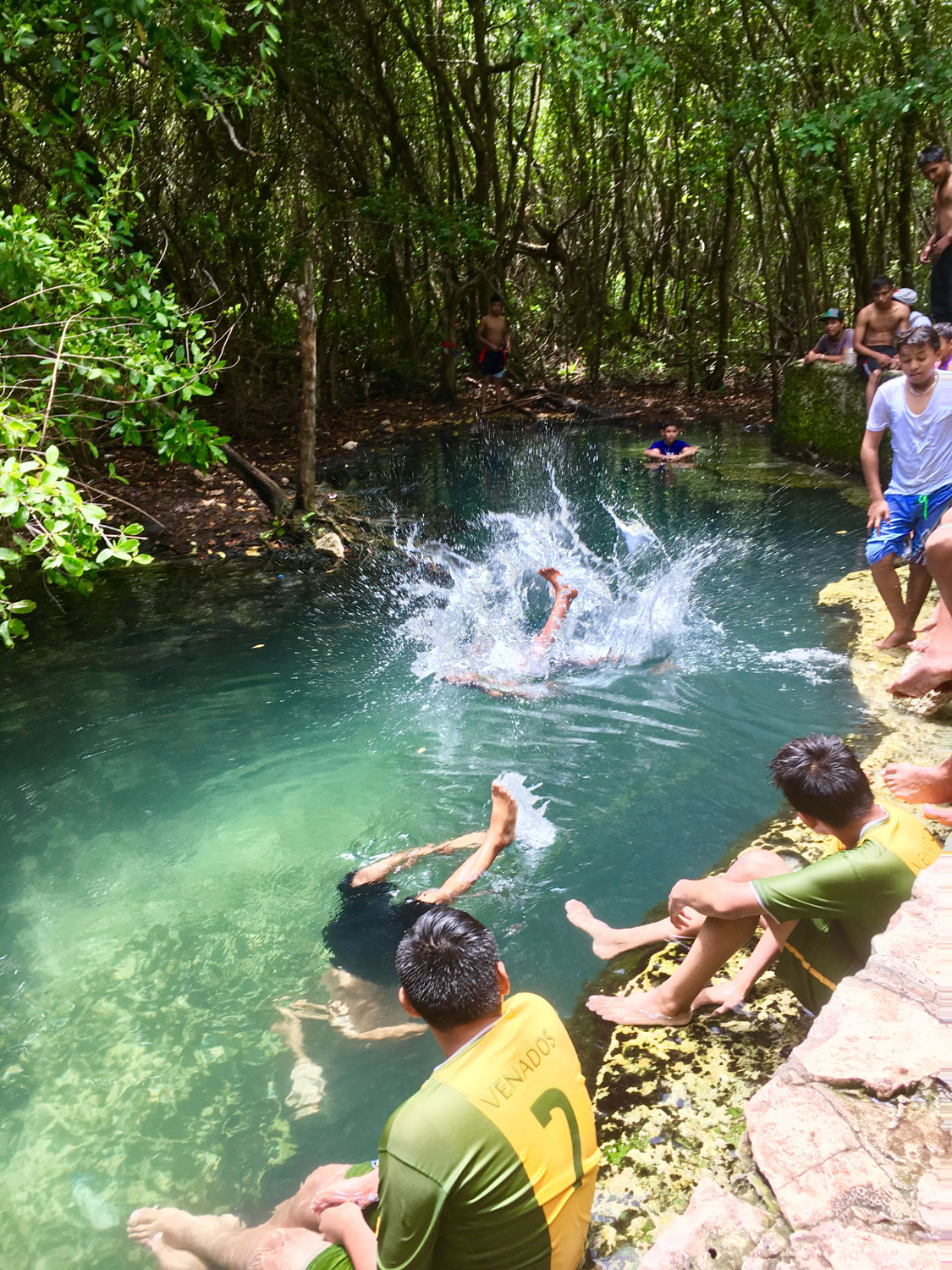 And teenagers prefer jumping in the deeper cenote.