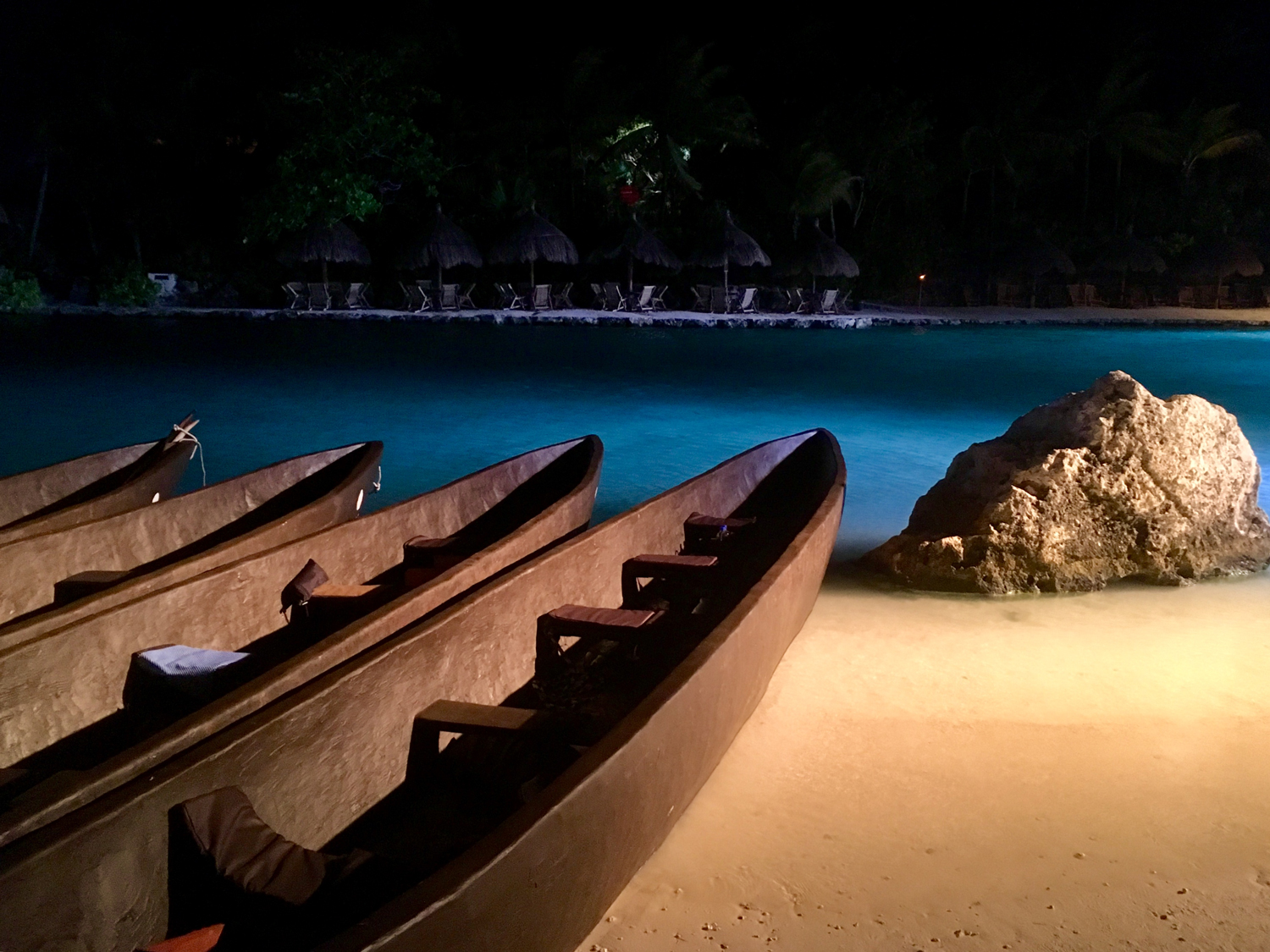 Replica canoes for the crossing to Cozumel.