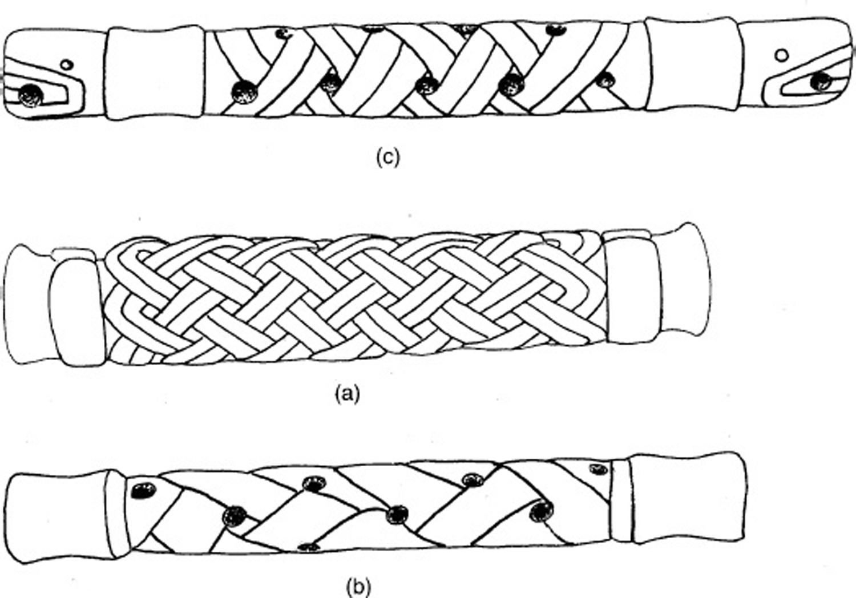 Ceremonial bar pectorals of rolled mat (X-shape):  academia.edu .