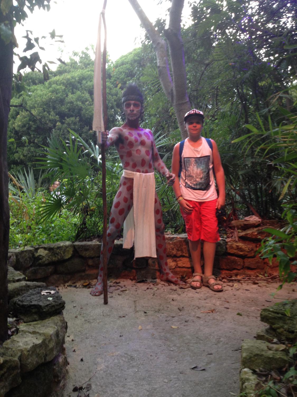 My nephew with a Maya warrior.
