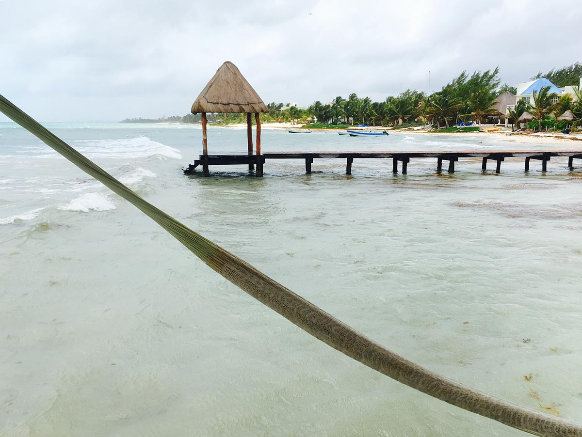 Tankah Bay beach has a few piers.