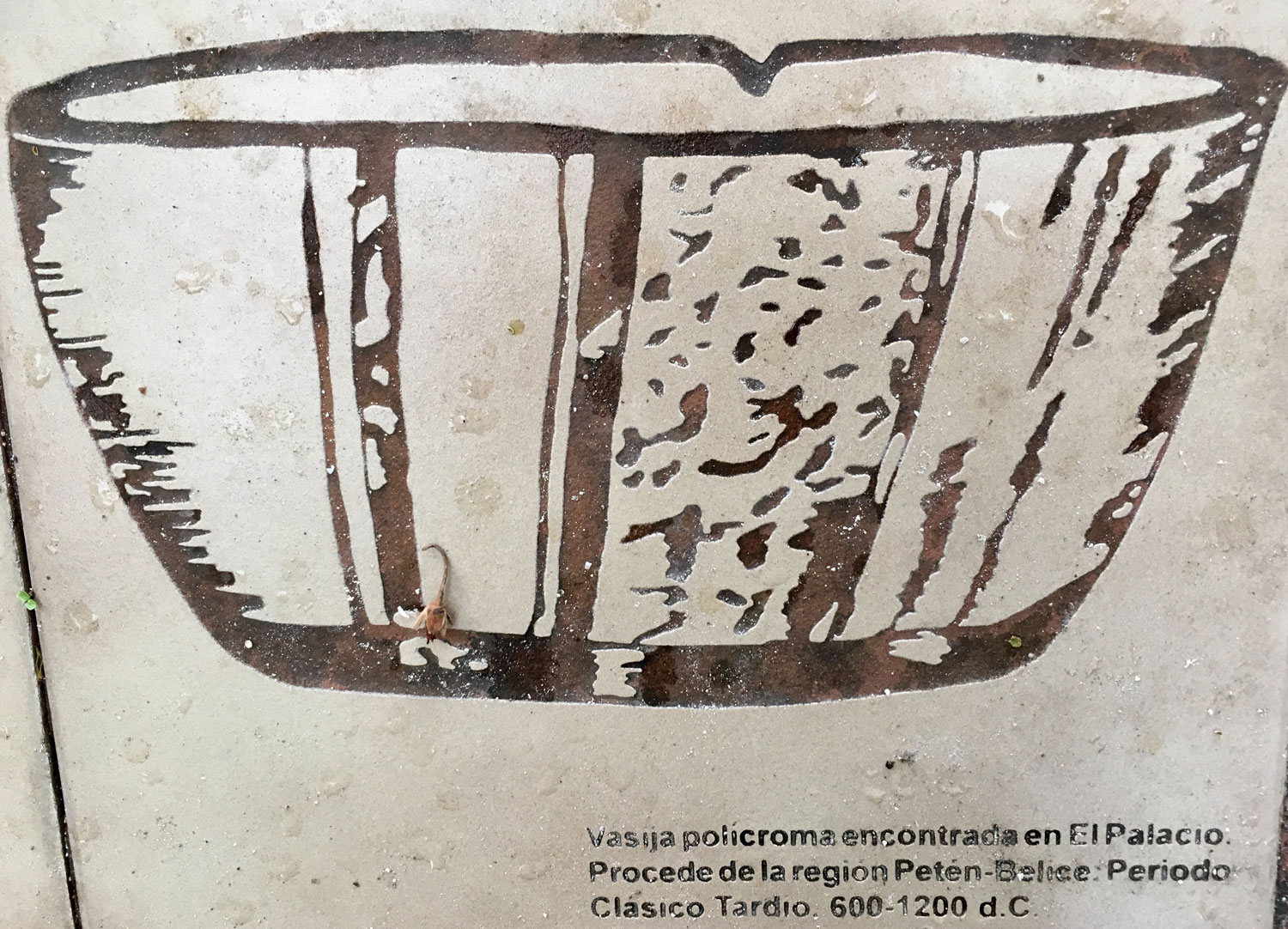 The INAH drawing of the pottery found on the site (600-1200 AD).