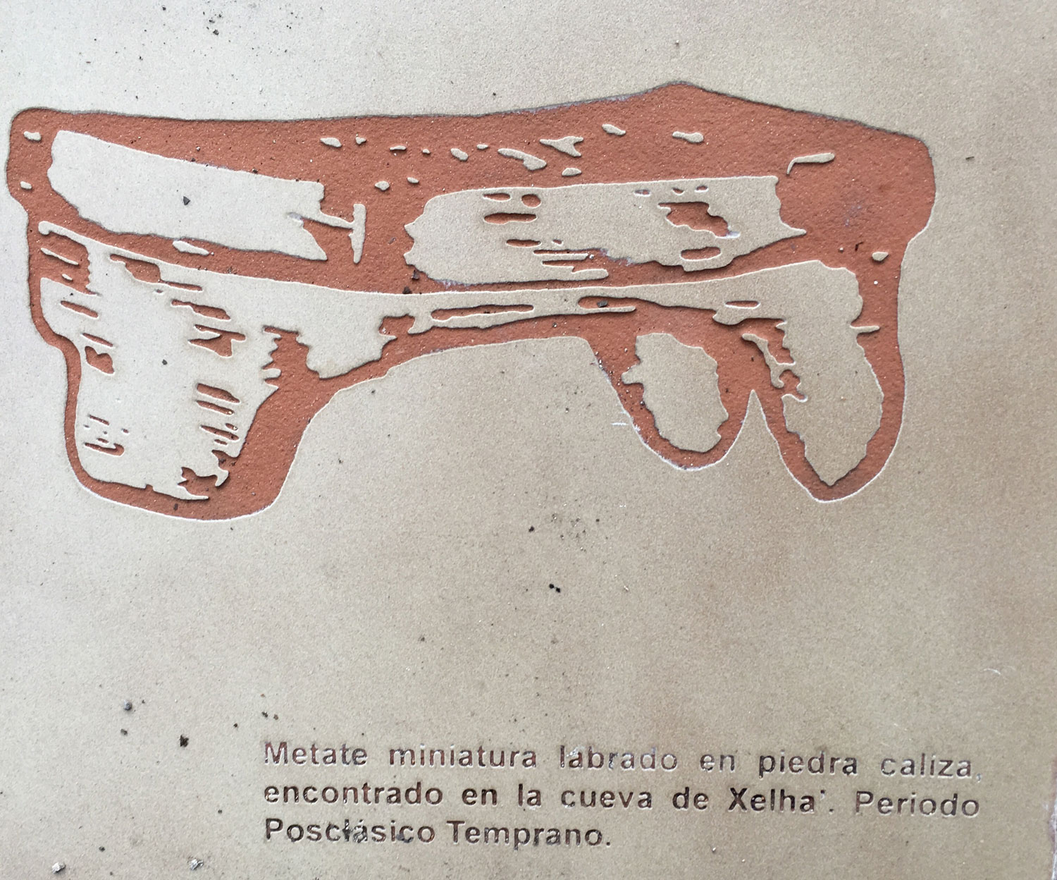 Metates for grinding maize were found in abundance here, as this picture from the INAH sign on the site reminds us.