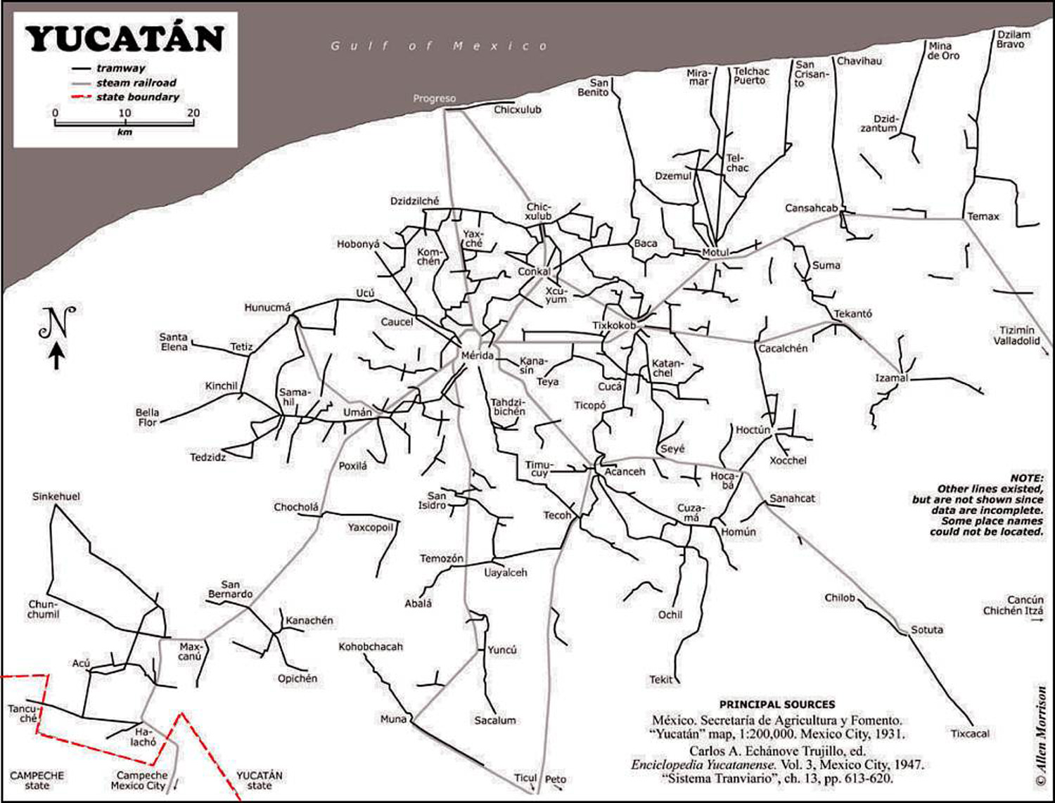Map of Yucatan's tramways and railways:  geo-mexico.com .