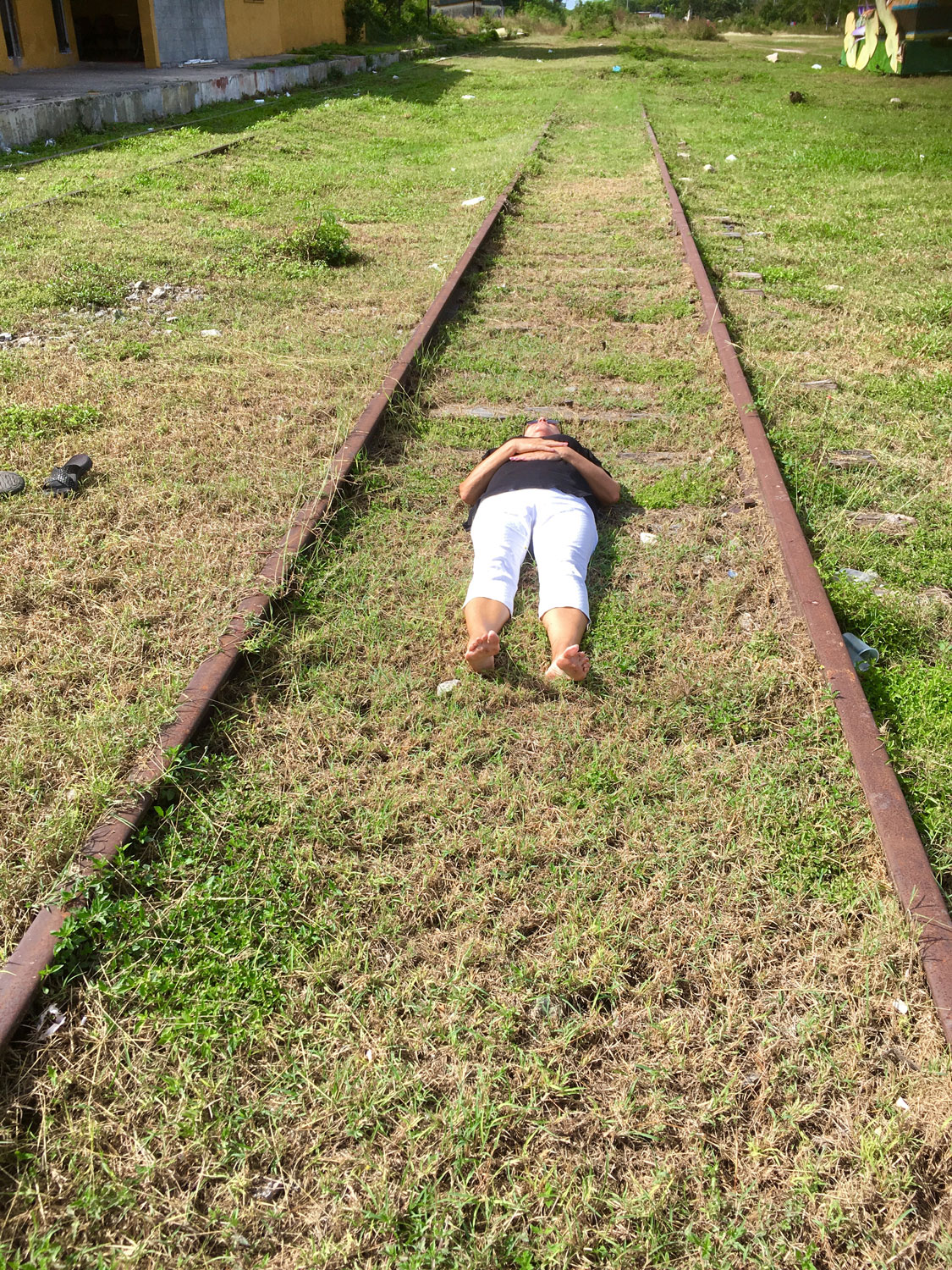 I am lying on the rail track just to prove it is out of use.