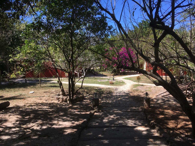 The gardens and hotel cabañas of Santo Domingo.