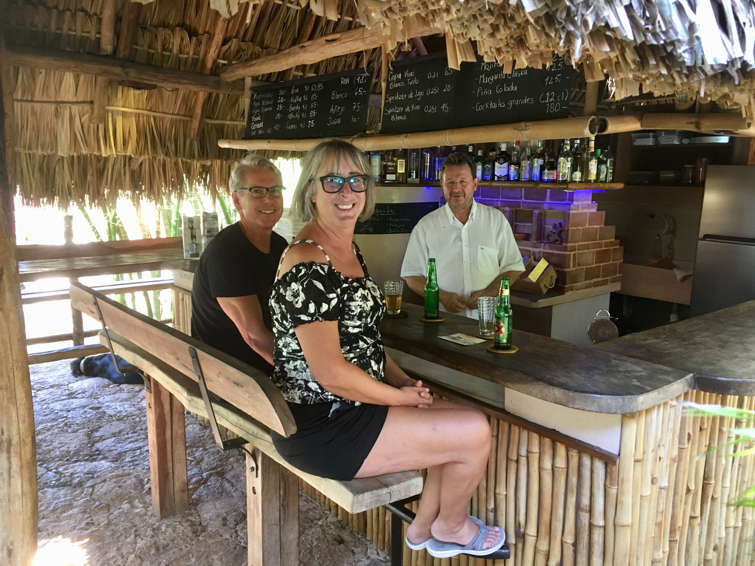 My friends at the bar with the hacienda owner.