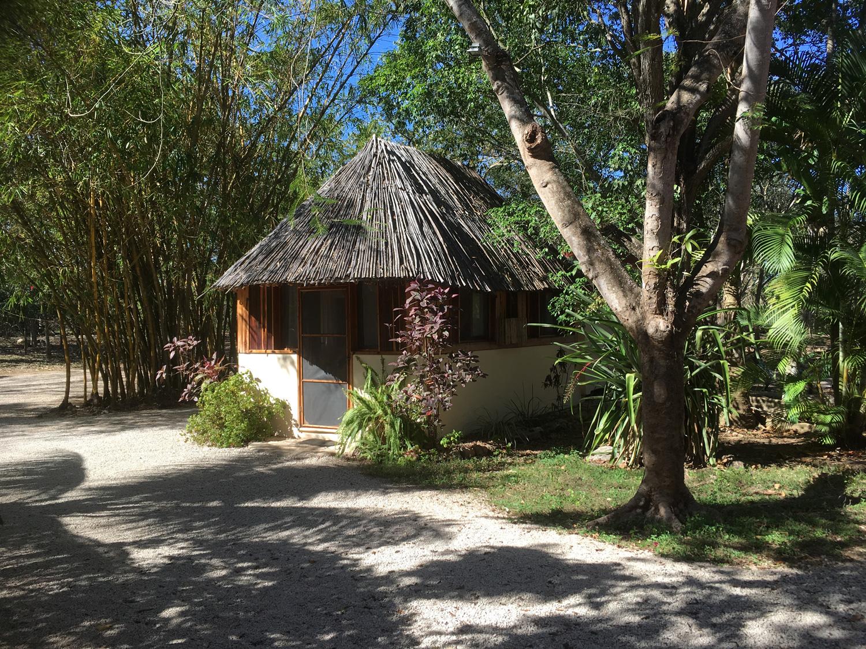 A cabaña house in the garden.