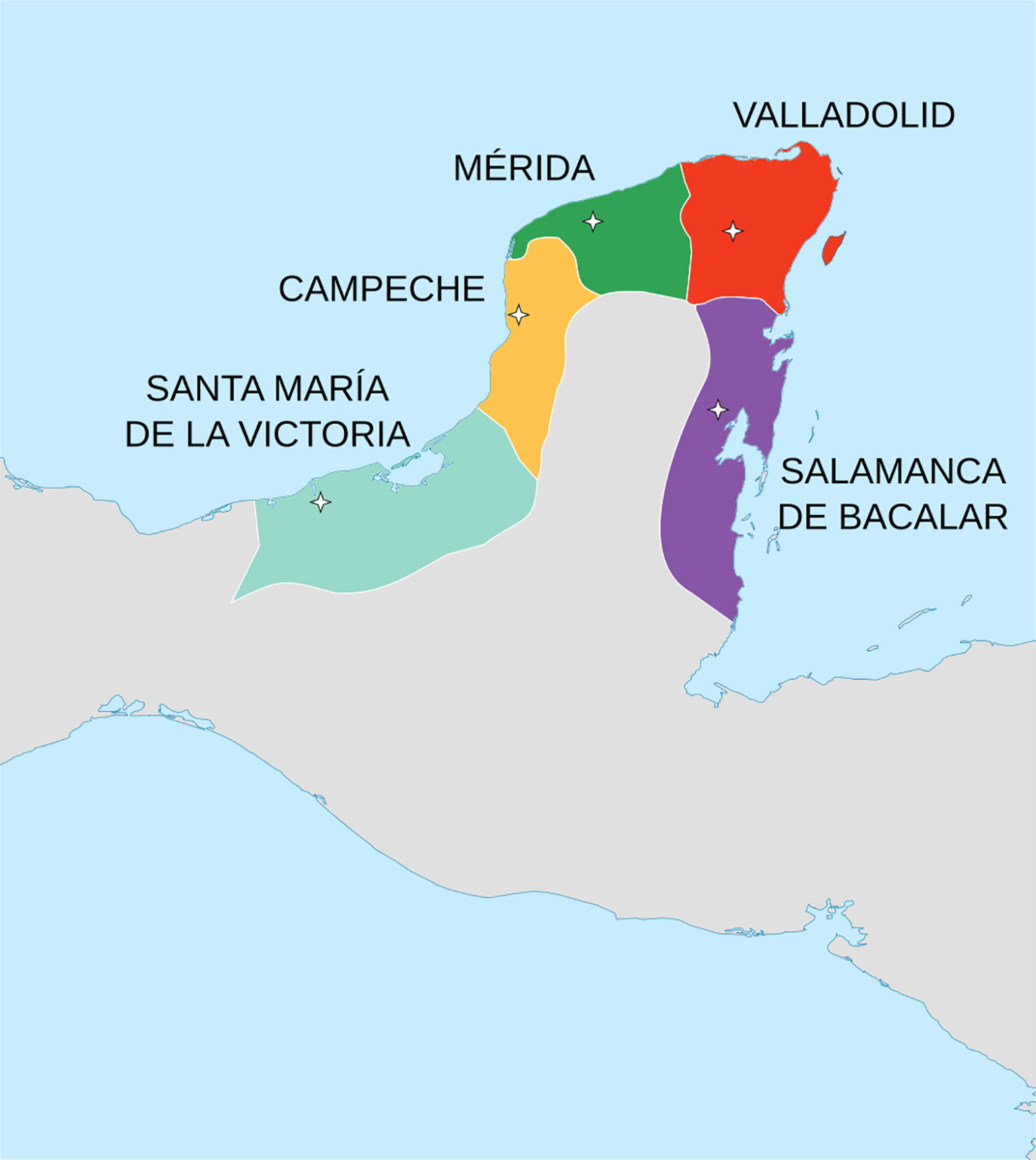 Map of the territories that were conquered by the Montejos (father and son) between 1527 and 1549. Source:  wikipedia.org .