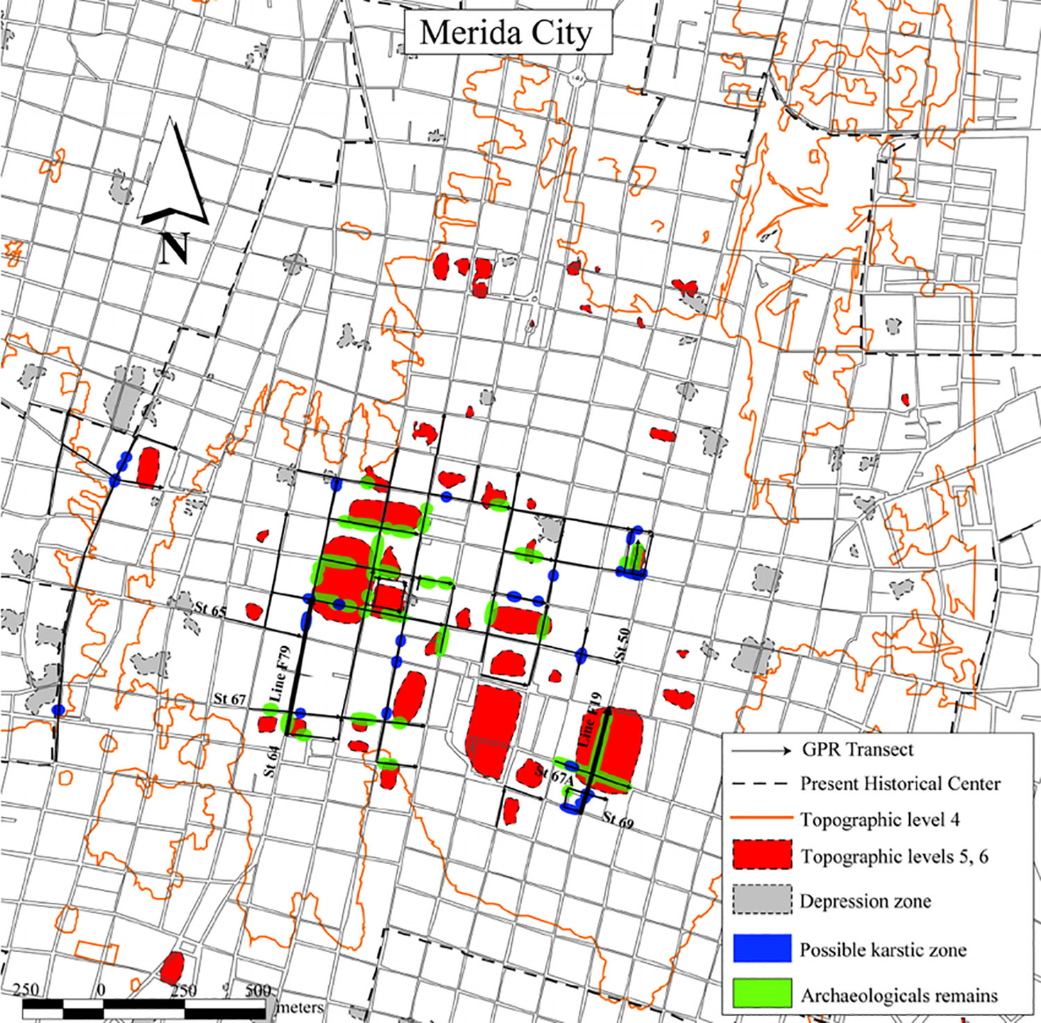 Map of Mérida showing the original Maya structures of T'hó city in green. Source:  researchgate.net .