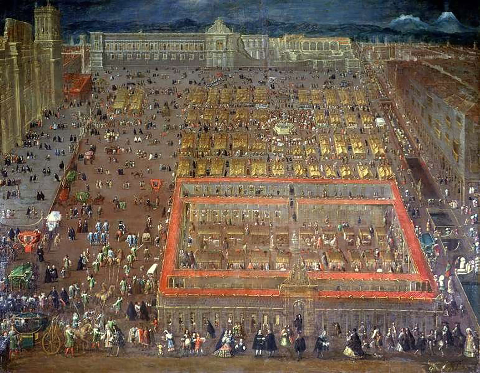 View of the Plaza Mayor of Mexico city in 1695:  en.wikipedia.org .