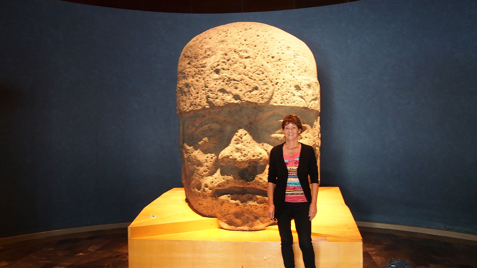 With the Olmec head inside the museum.