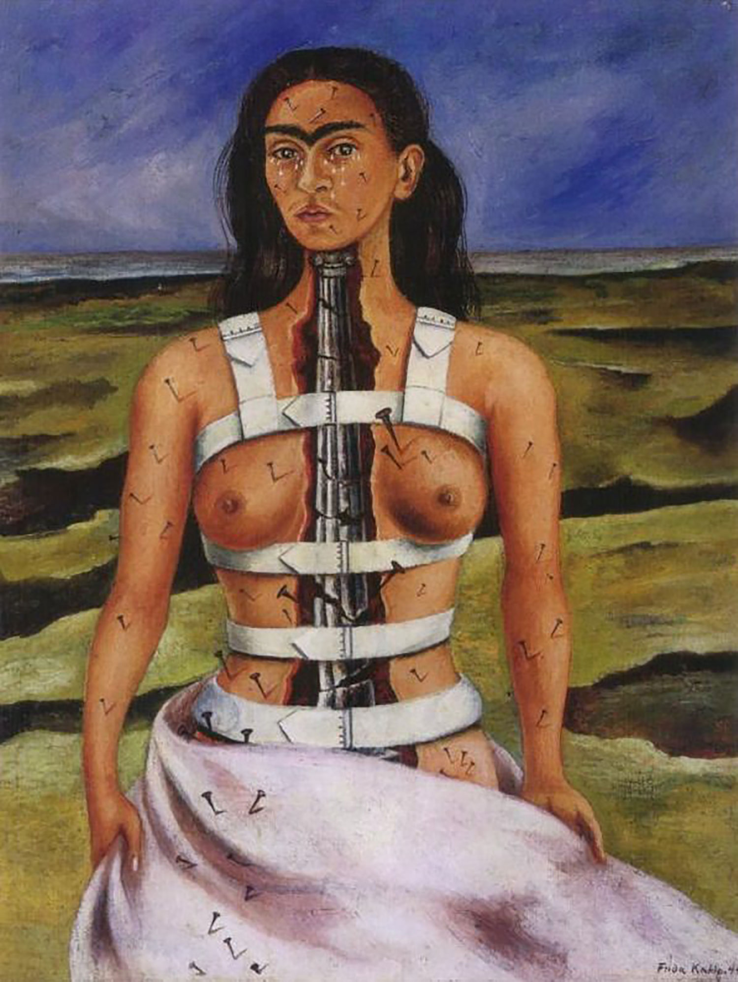 The Broken Column, 1944. Although her body is supported by the corset, she conveys a message of spiritual triumph:  f  ridakahlo.org .
