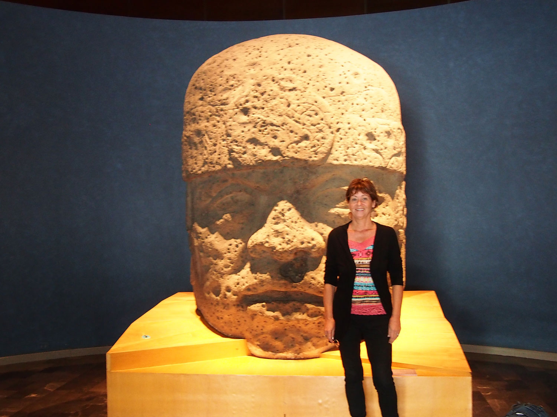 With Olmec head, December 2014.