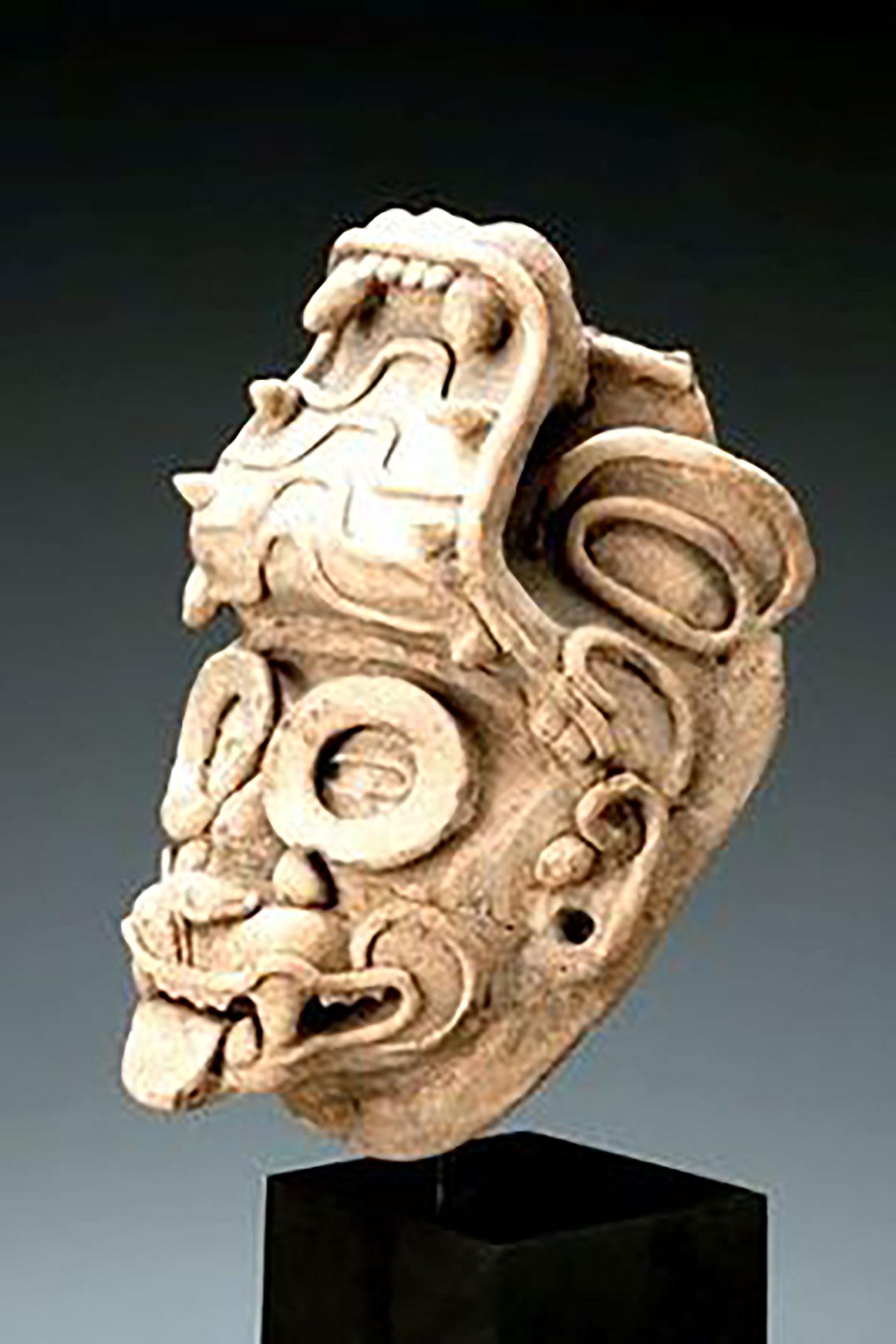 Pre-Columbian Jaguar mask head fragment Veracruz East Mexico, 300-900 AD:  pinterest.com .