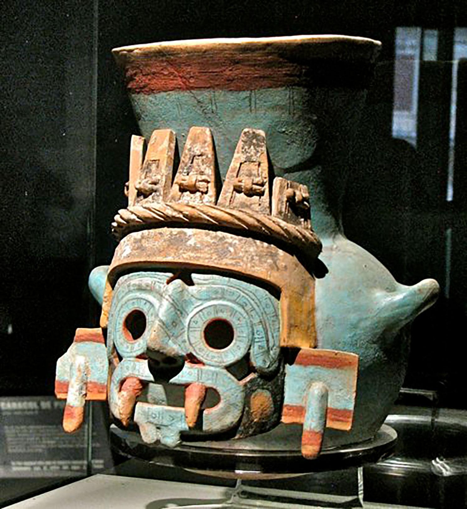 God Tláloc on a clay pot from Tenochtitlán:  arcomuseum.com .