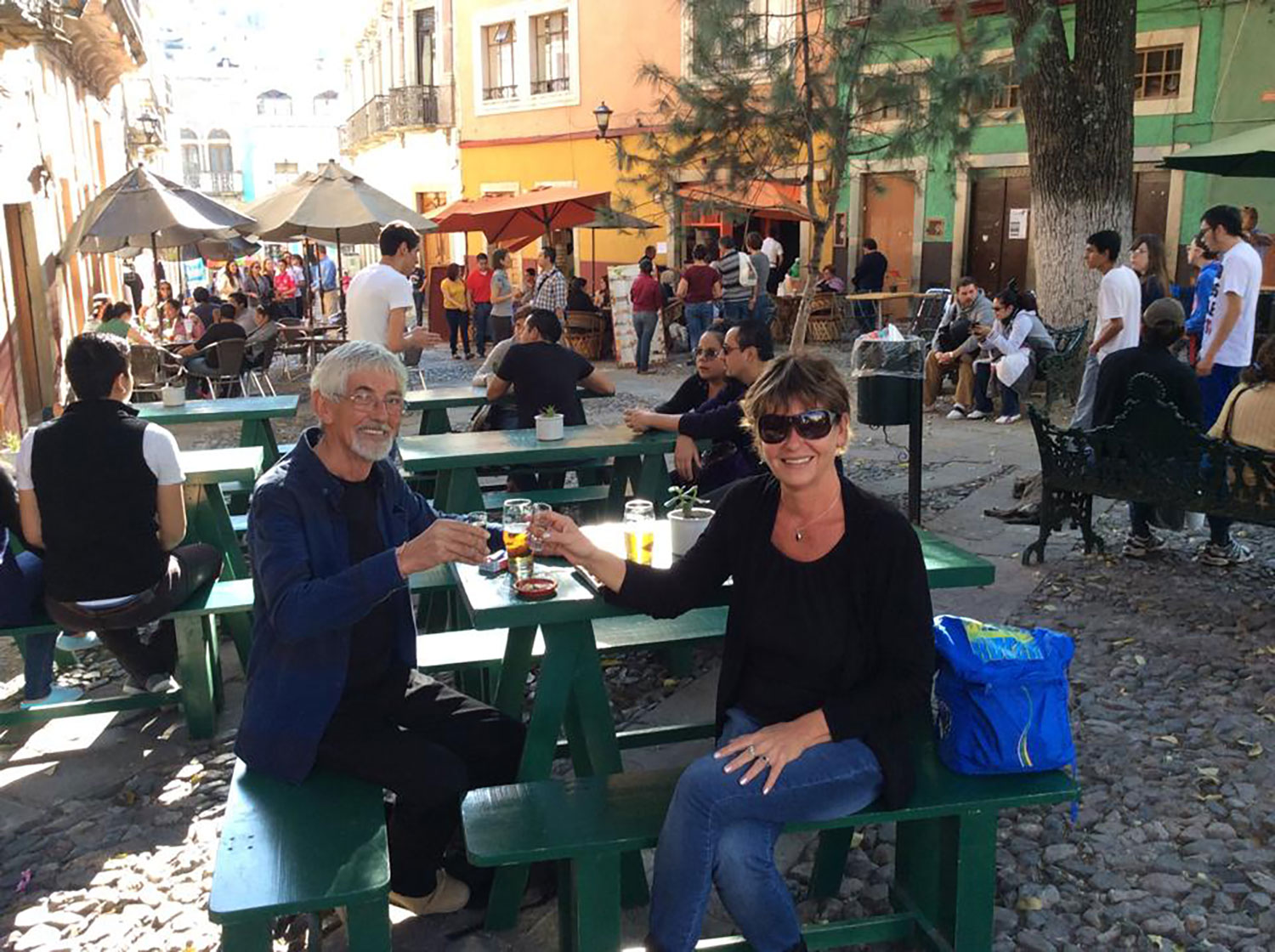 At Plaza de San Fernando with my husband Rhod, just down the hill from the museum.