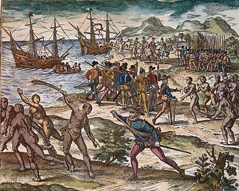 Theodor de Bry, Montejo captures Yucatán in 1527:  akg-images.de .