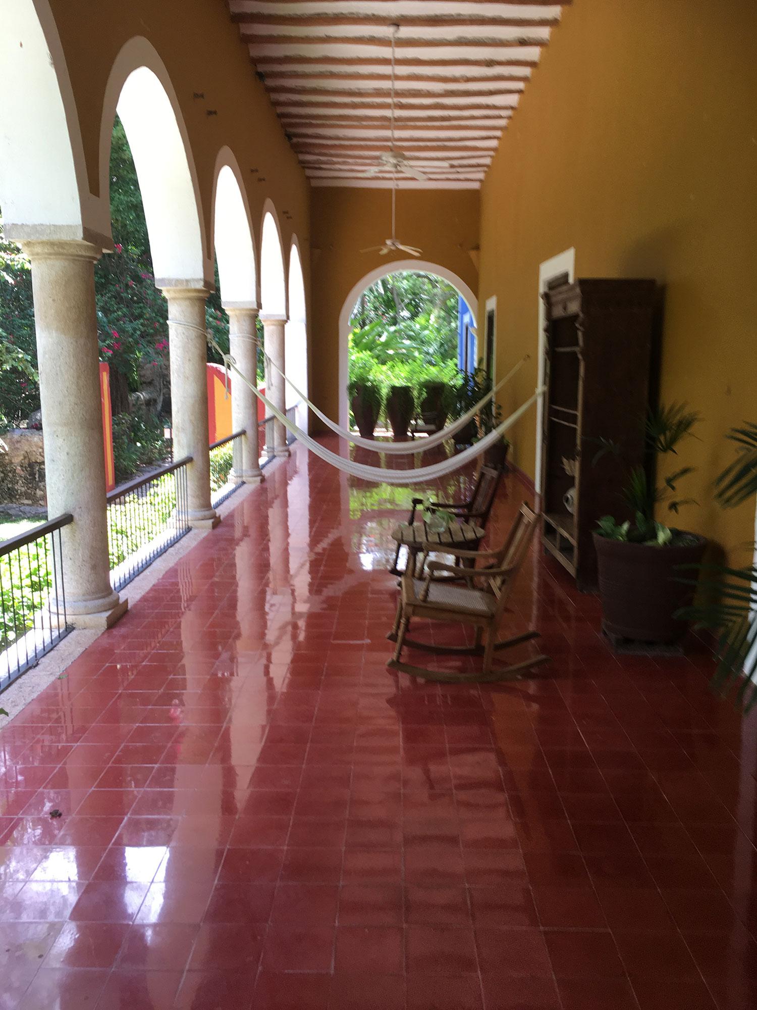 The hotel veranda.