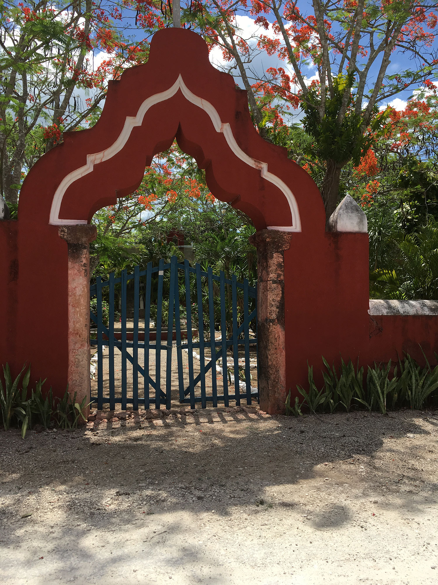 The entry gate to the Hacienda San Antonio Dzina, south of the cenote.