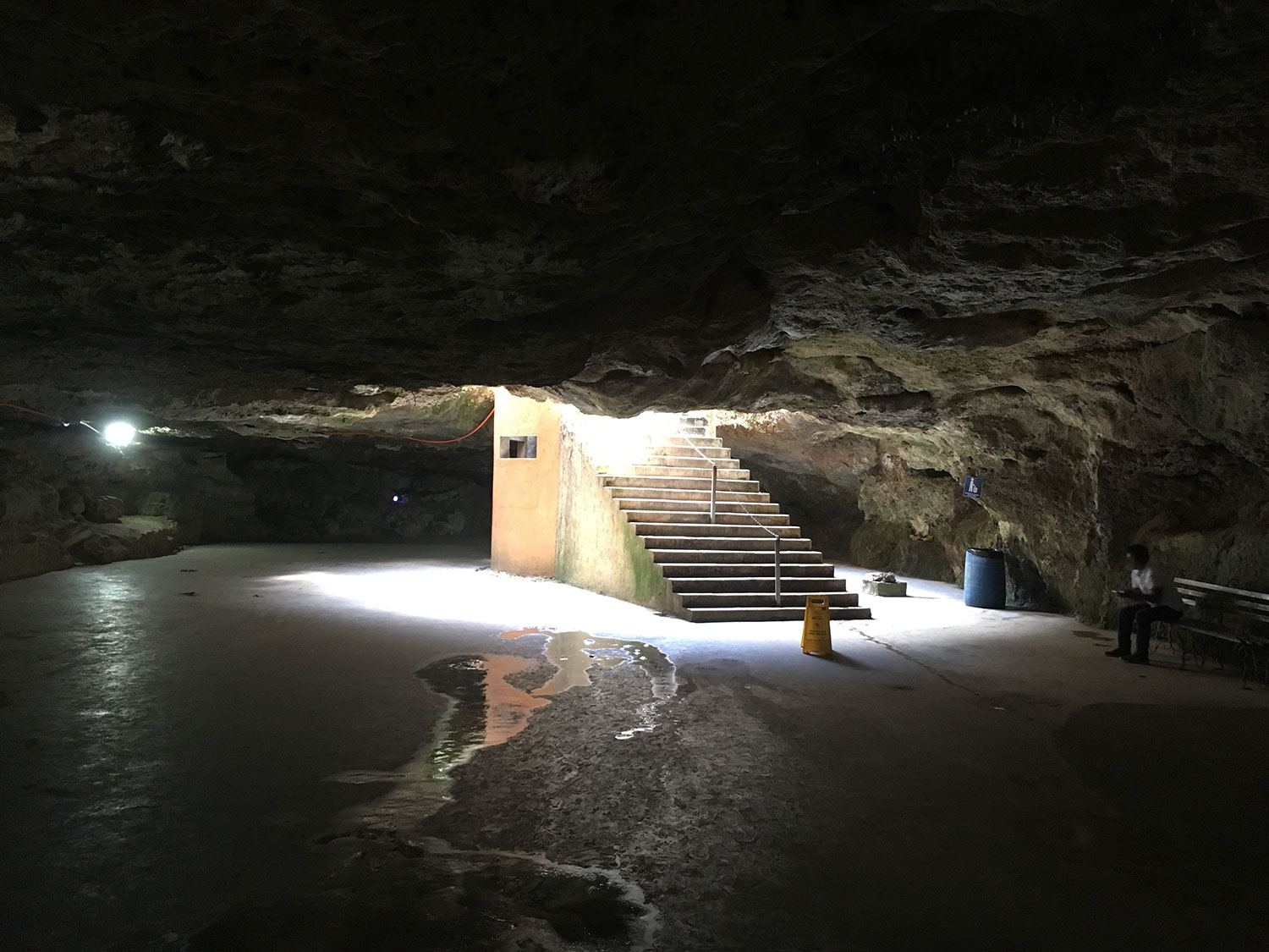 View of the entrance to the cave from the inside.