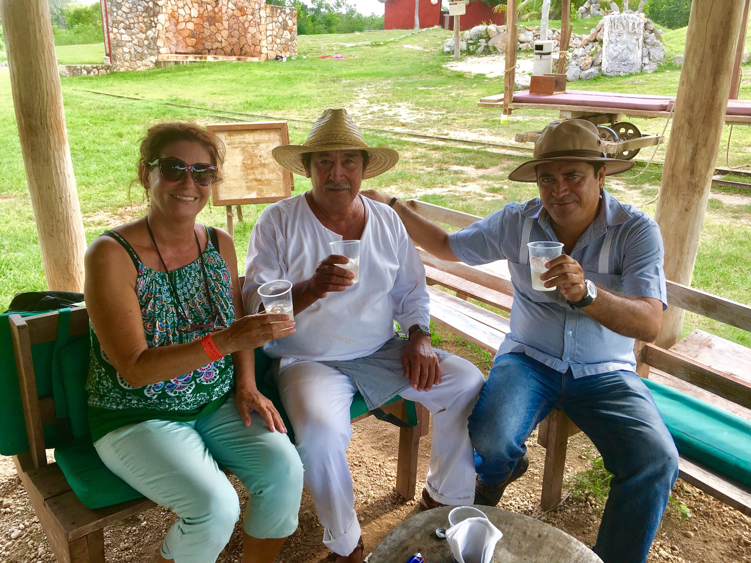 Tasting Margarita with the hacienda staff.