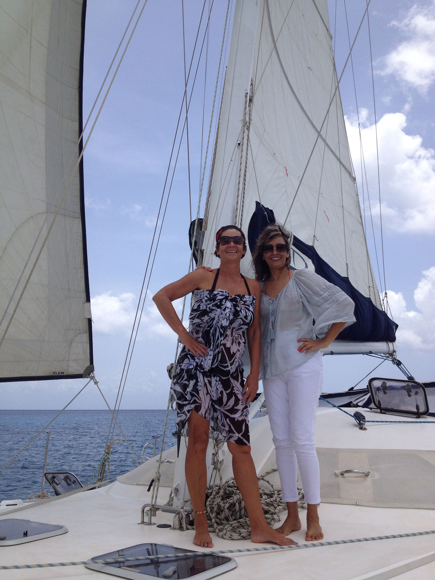 Sailing with my friend Claudia.