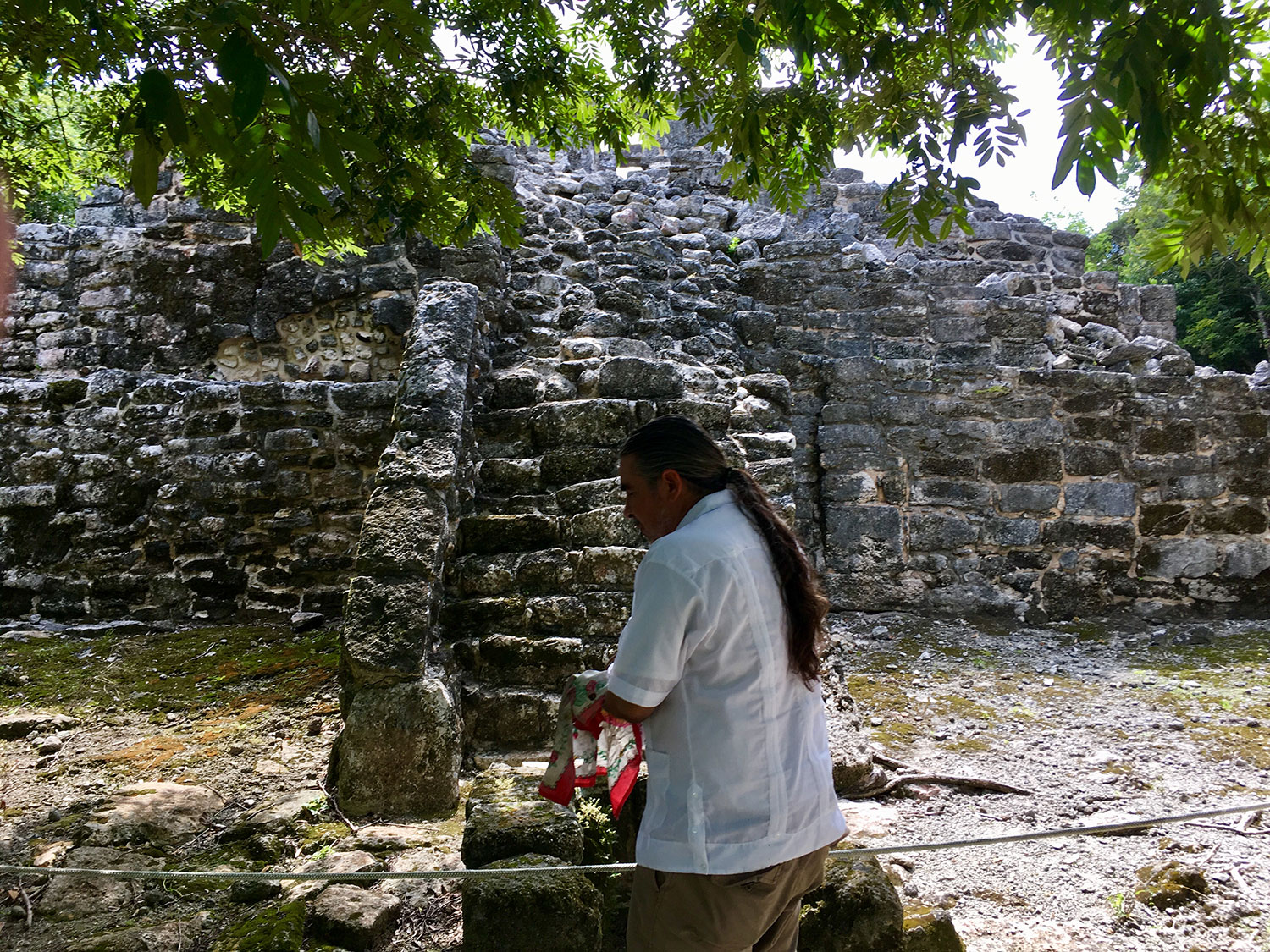 'My' shaman Eduardo at the ruins. Here they call them Ah Men.
