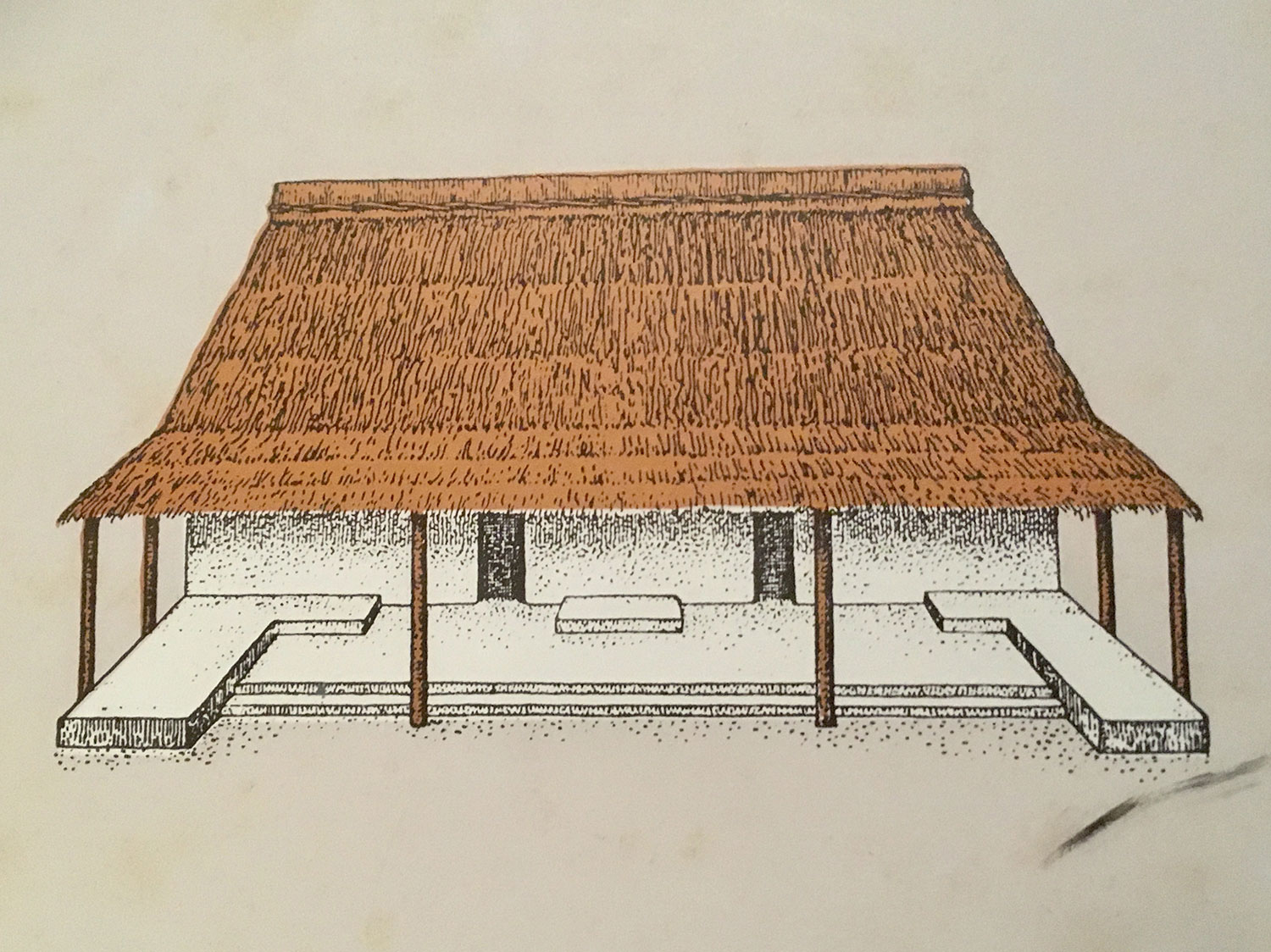 A drawing of an ancient Maya wooden house.