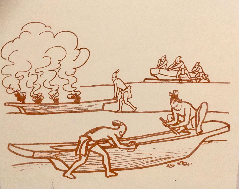 Making a canoe.