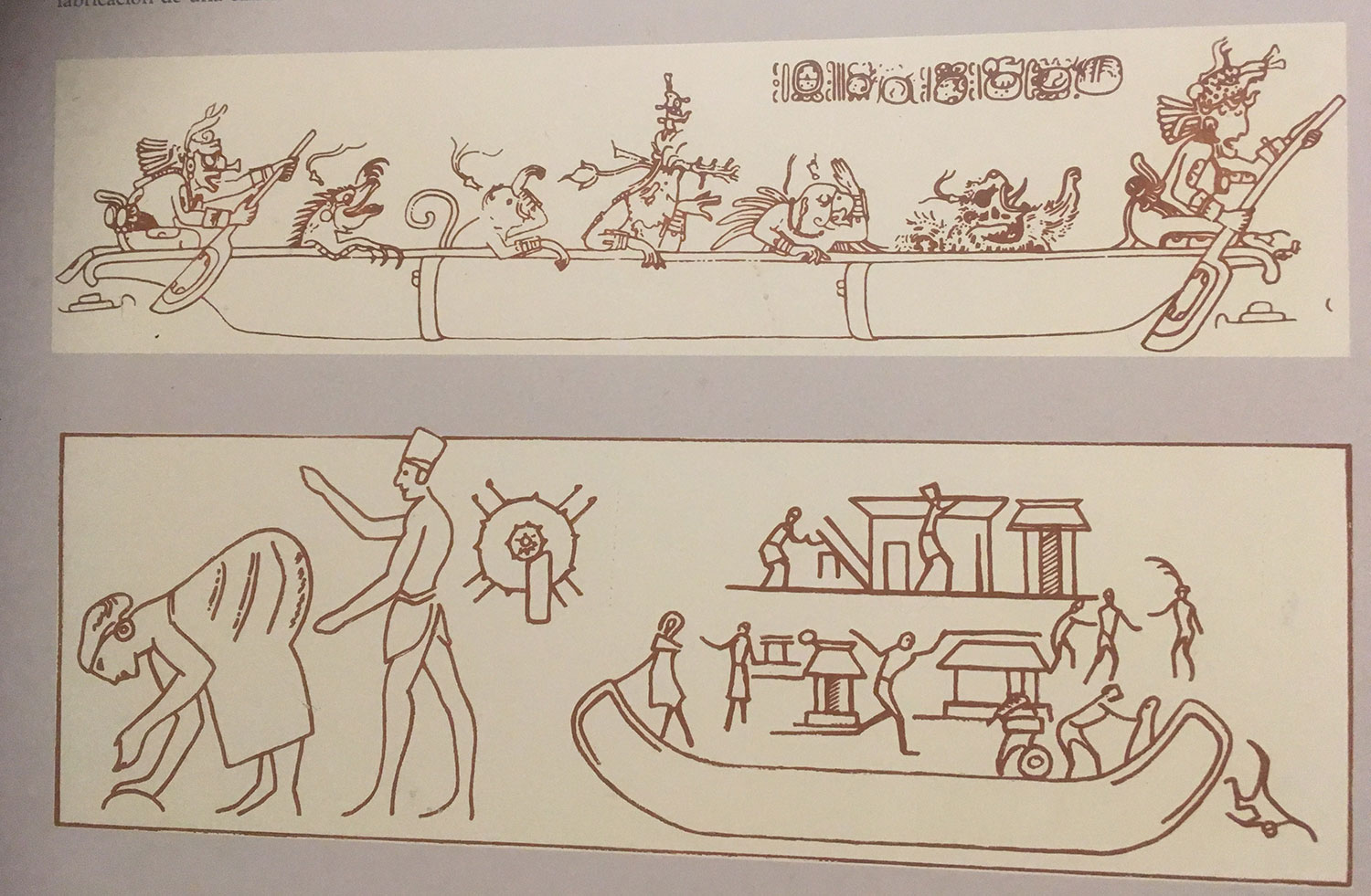 A canoe drawing with the Maya Paddler Gods (found at Tikal).