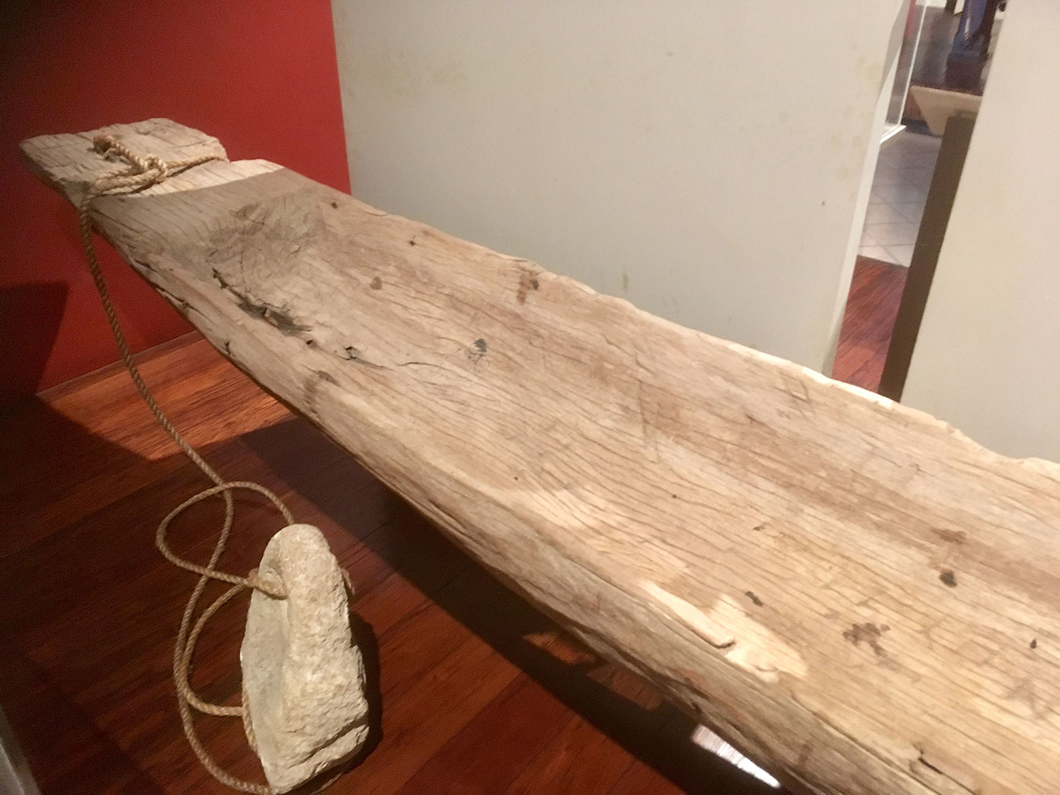 An ancient canoe found in the waters of Cozumel.