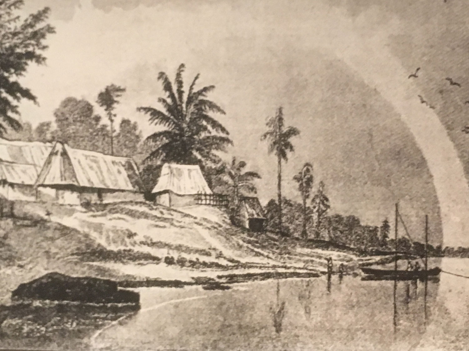 Drawing of San Miguel by  Frederick Catherwood  in 1841, during his visit to the island with  John Lloyds Stephens .