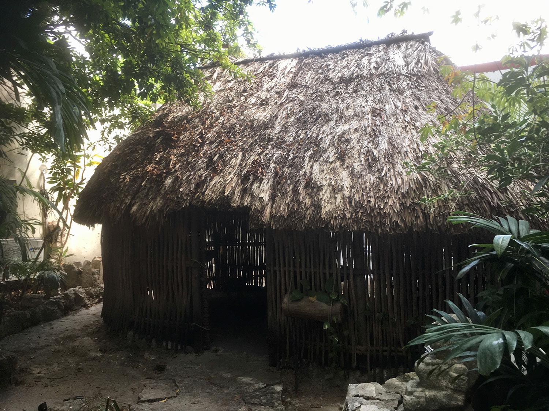 The Maya hut in the garden.