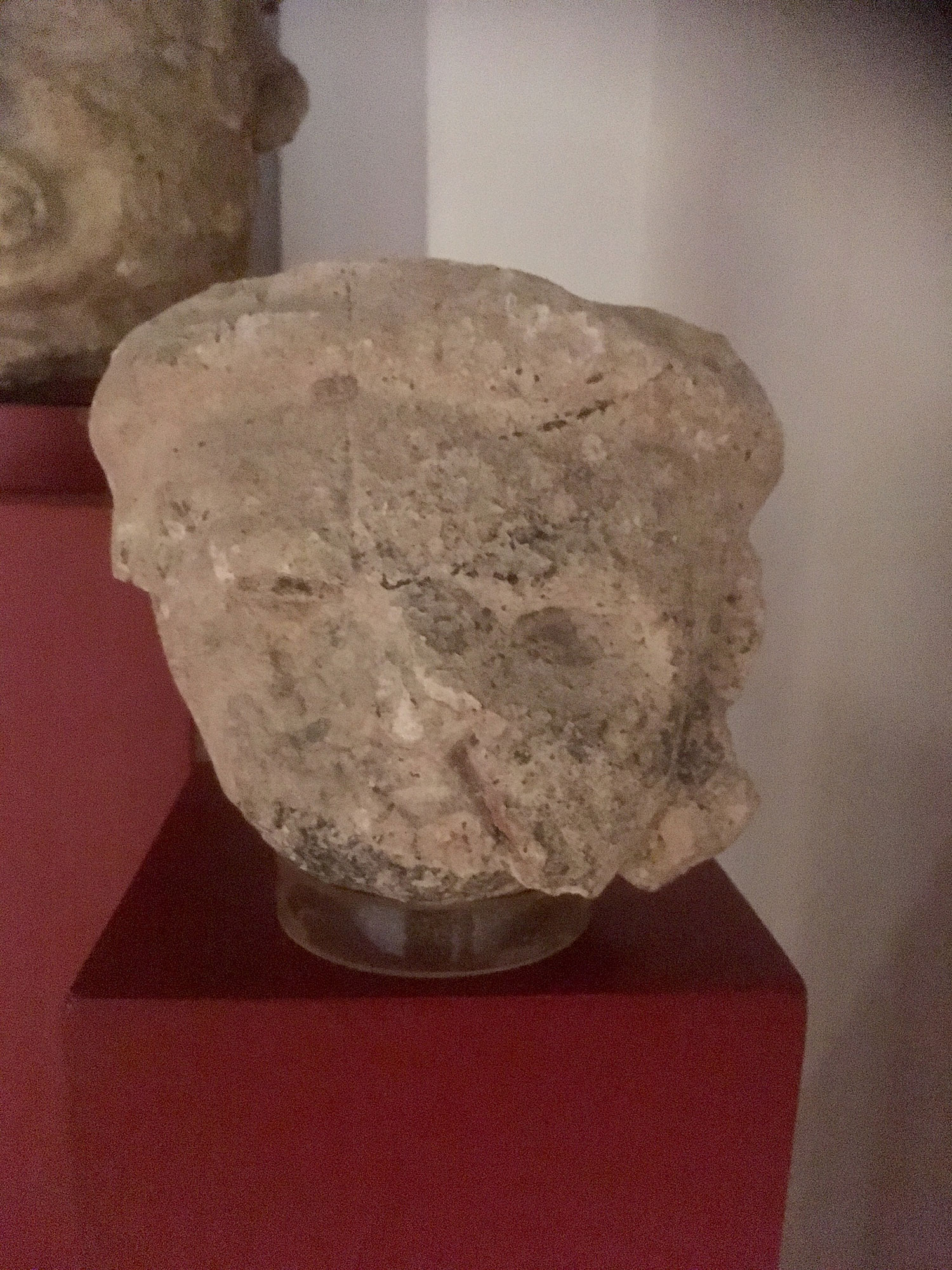 Head sculptures at Cozumel Museum. Island rulers or priests?