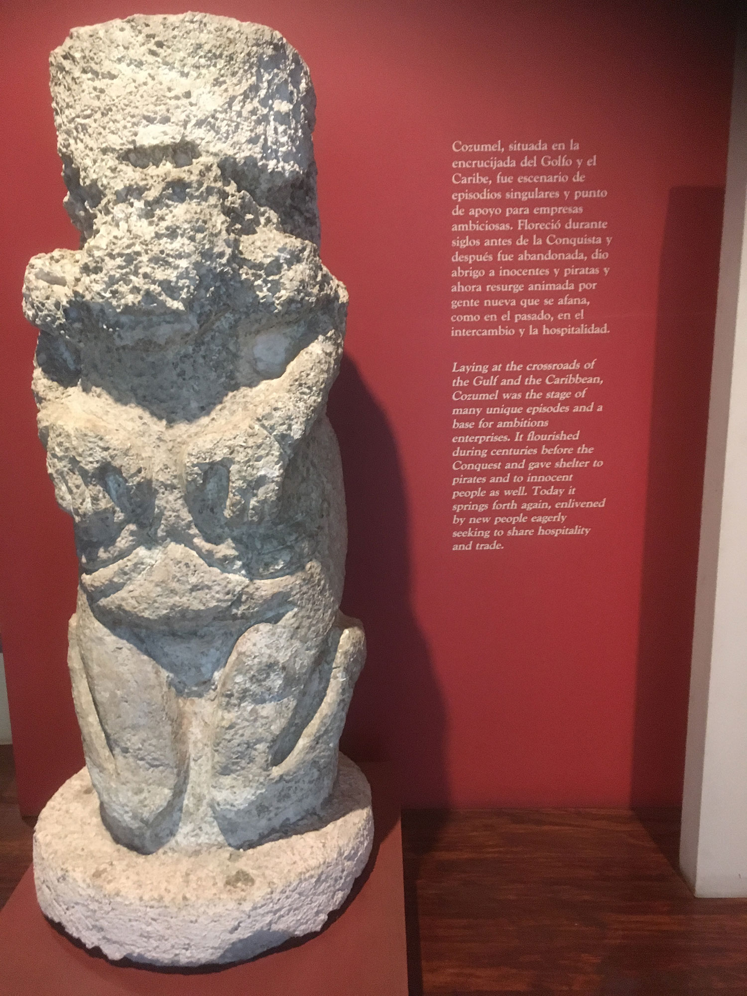 A kneeling man. From the Cozumel Museum.