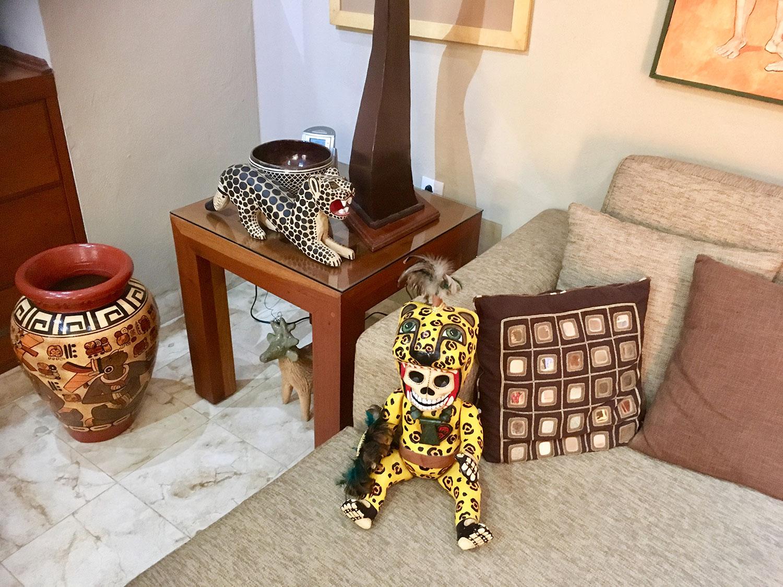 Alebrije jaguar on the lamp table.