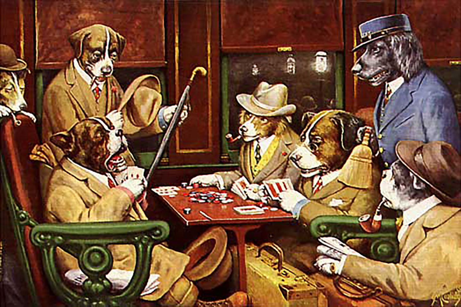 Dogs playing poker. His Station and Four Aces by C.M Coolidge, 1903. Credit:  wikipedia.org .