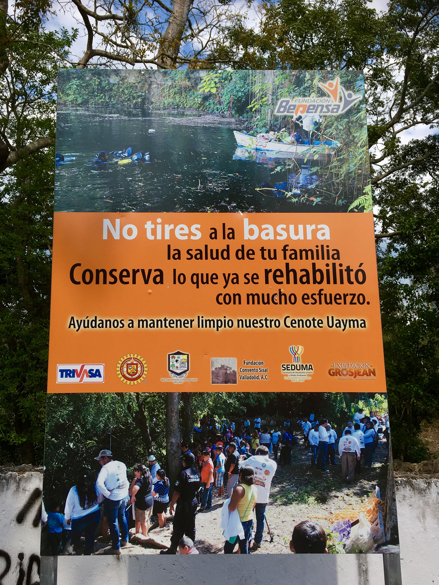 A sign by the cenote clearly indicates that it is used by the locals.