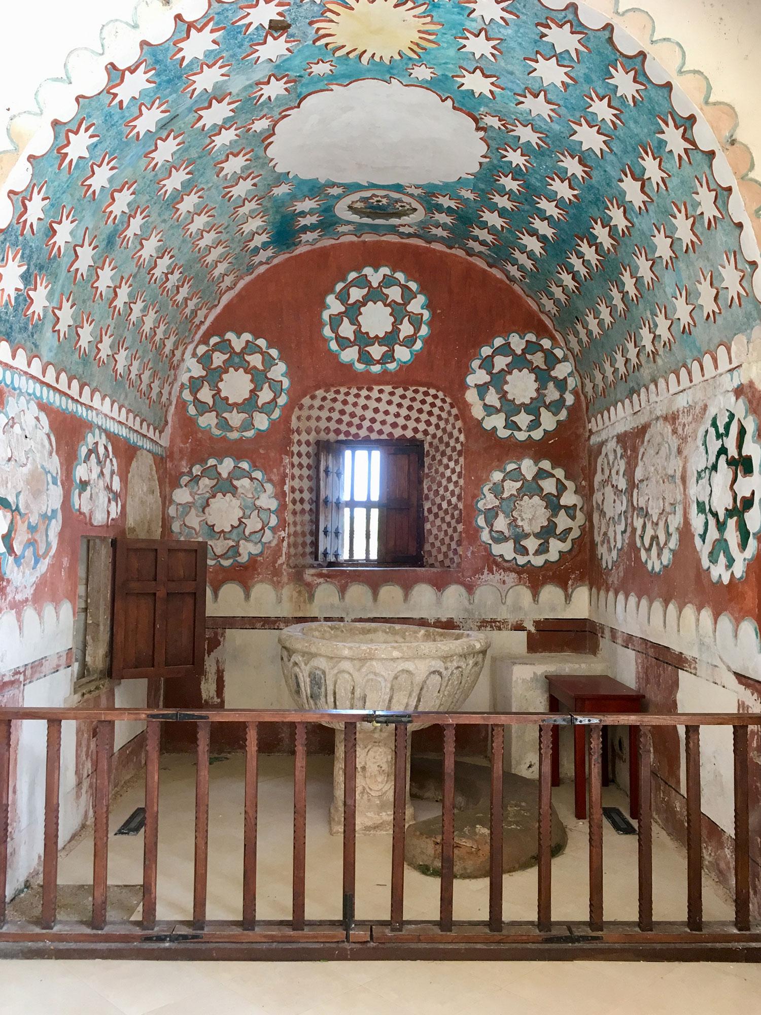 The church interior has the same decorative motifs as the exterior.