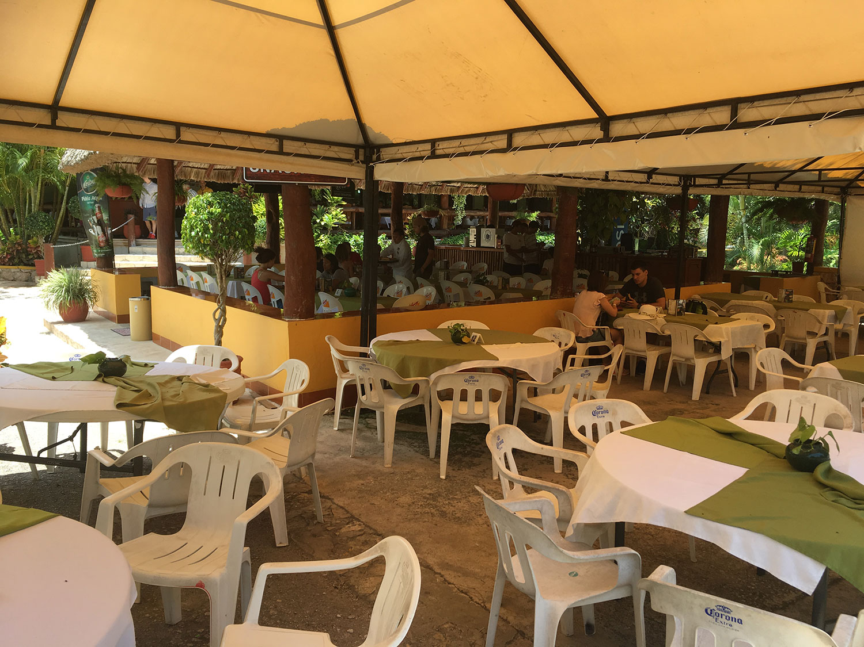 The restaurant inside the cenote park.