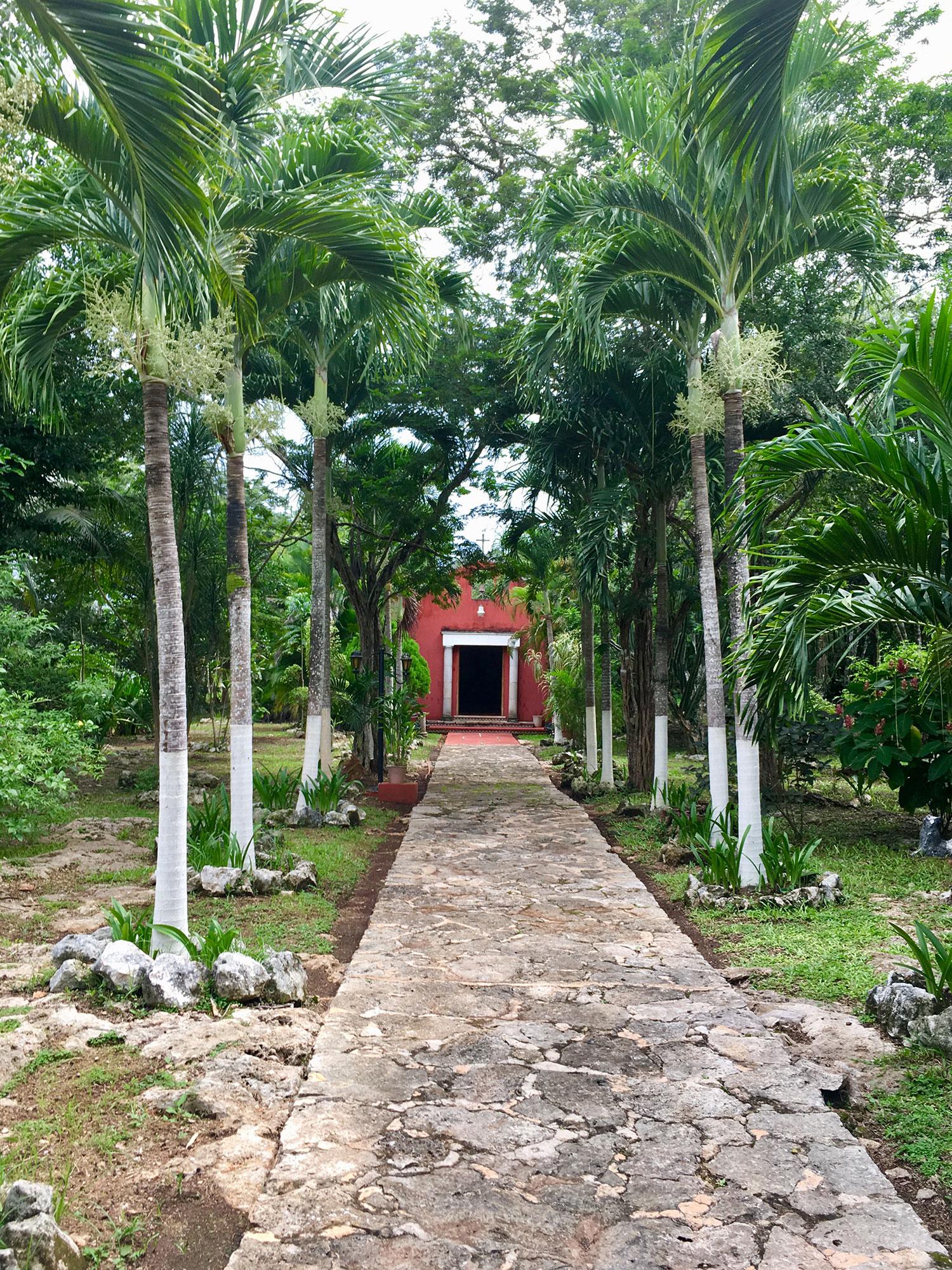 A garden path to the chapel.