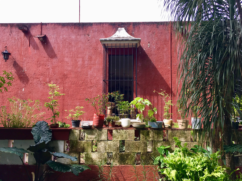 The hacienda was badly damaged before restoration took place. Photos taken at the hacienda chapel.