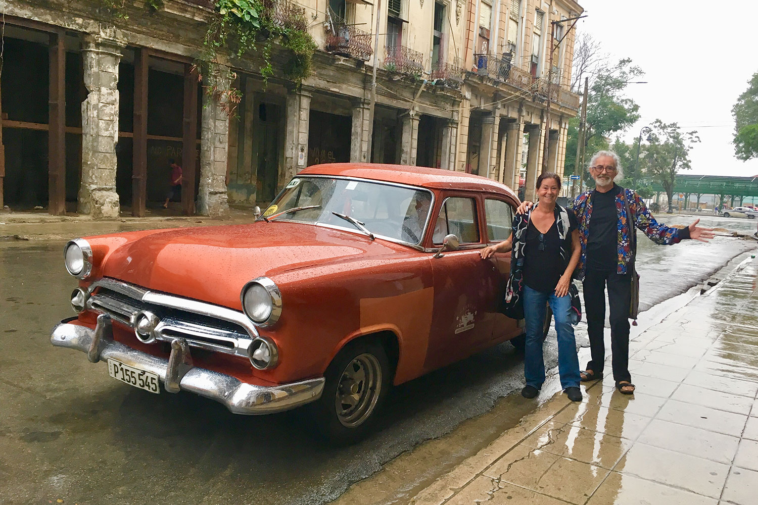 Outside Buena Vista Social Club. We arrived in this car from the airport and the driver took us straight here.